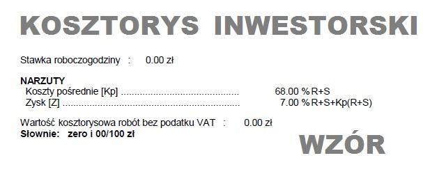 Kosztorys inwestorski wzór